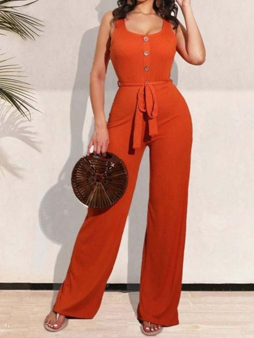 Casual Plain Full Length Lace-Up Straight Women's Jumpsuit
