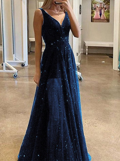Sequins Sleeveless Floor-Length V-Neck Mid Waist Women's Dress