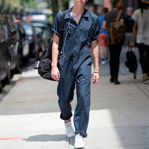 Full Length Plain Men's Jumpsuits/Overalls