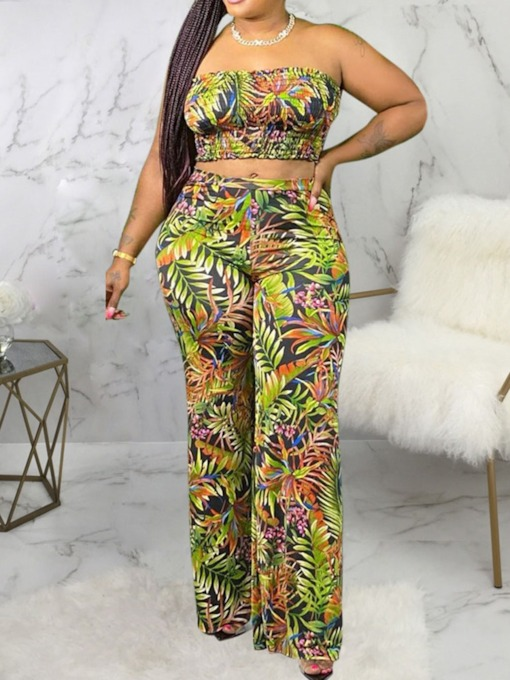 Sexy Color Block Vest Print Straight Women's Two Piece Sets