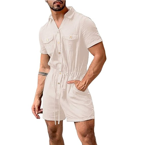 Plain Shorts Pocket Men's Jumpsuits/Overalls