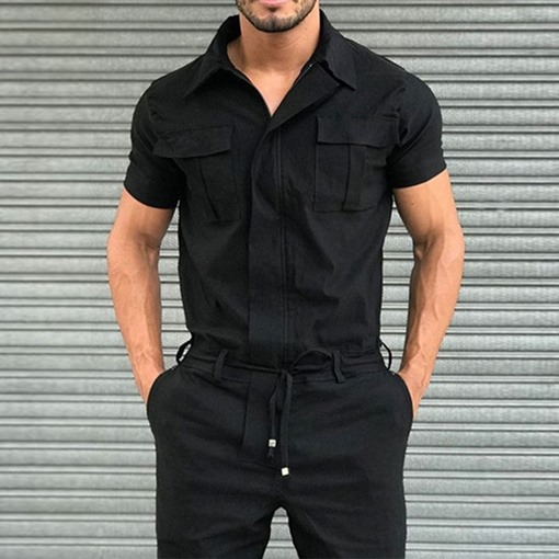 Plain Full Length Pocket Men's Jumpsuits Overalls