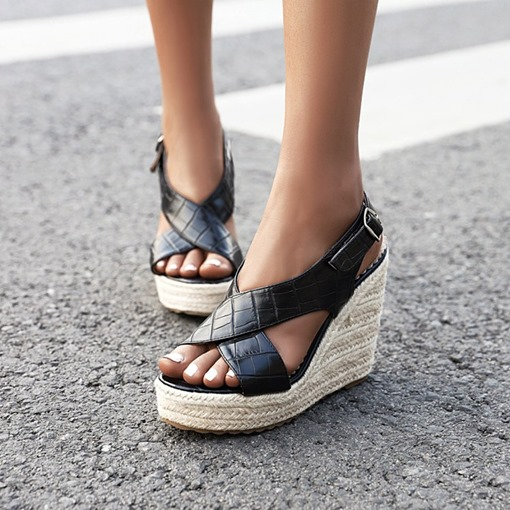 Open Toe Buckle Wedge Heel Stone Sandals