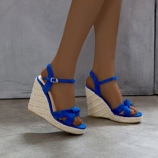 Open Toe Wedge Heel Buckle Color Block Sandals