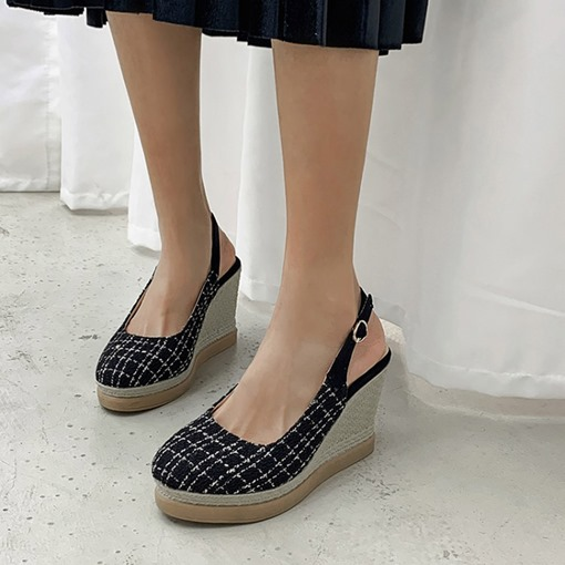 Wedge Heel Closed Toe Buckle Houndstooth Sandals