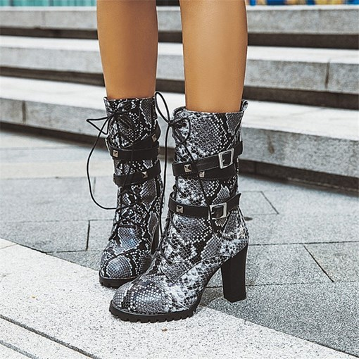 Side Zipper Round Toe Lace-Up Boots