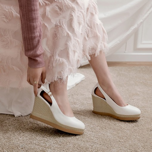 Buckle Buckle Closed Toe Ultra-High Hee Thin Shoes
