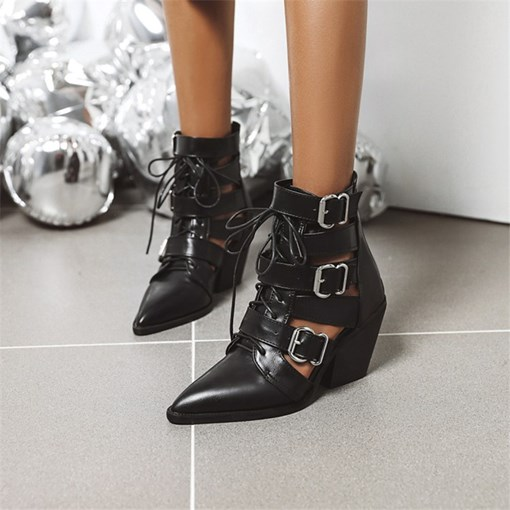 Pointed Toe Lace-Up Front Plain PU Boots