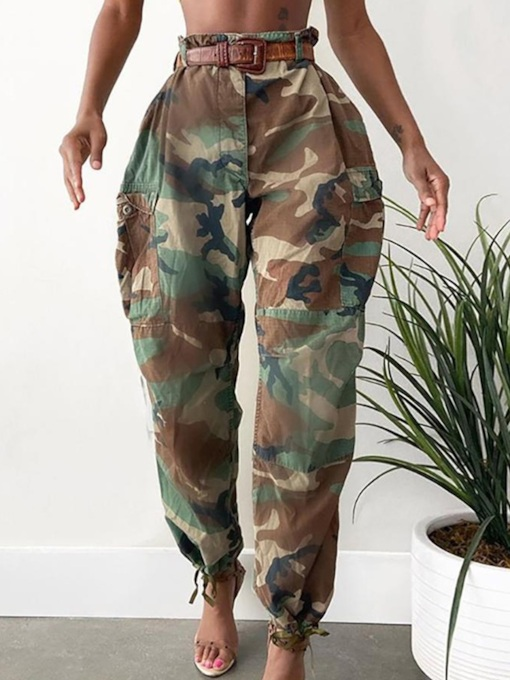Slim Pocket Camouflage Pencil Pants Women's Casual Pants
