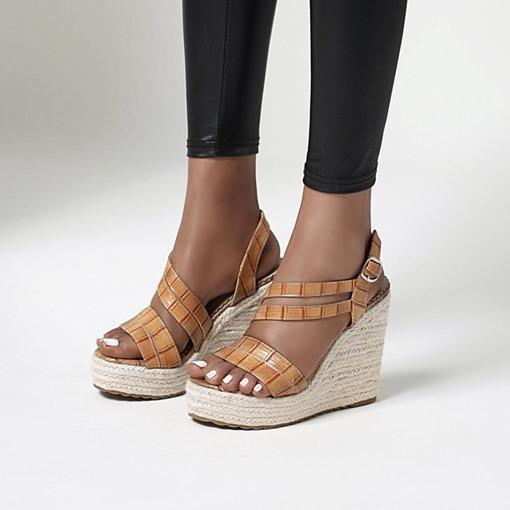 Wedge Heel Buckle Open Toe Patchwork Sandals