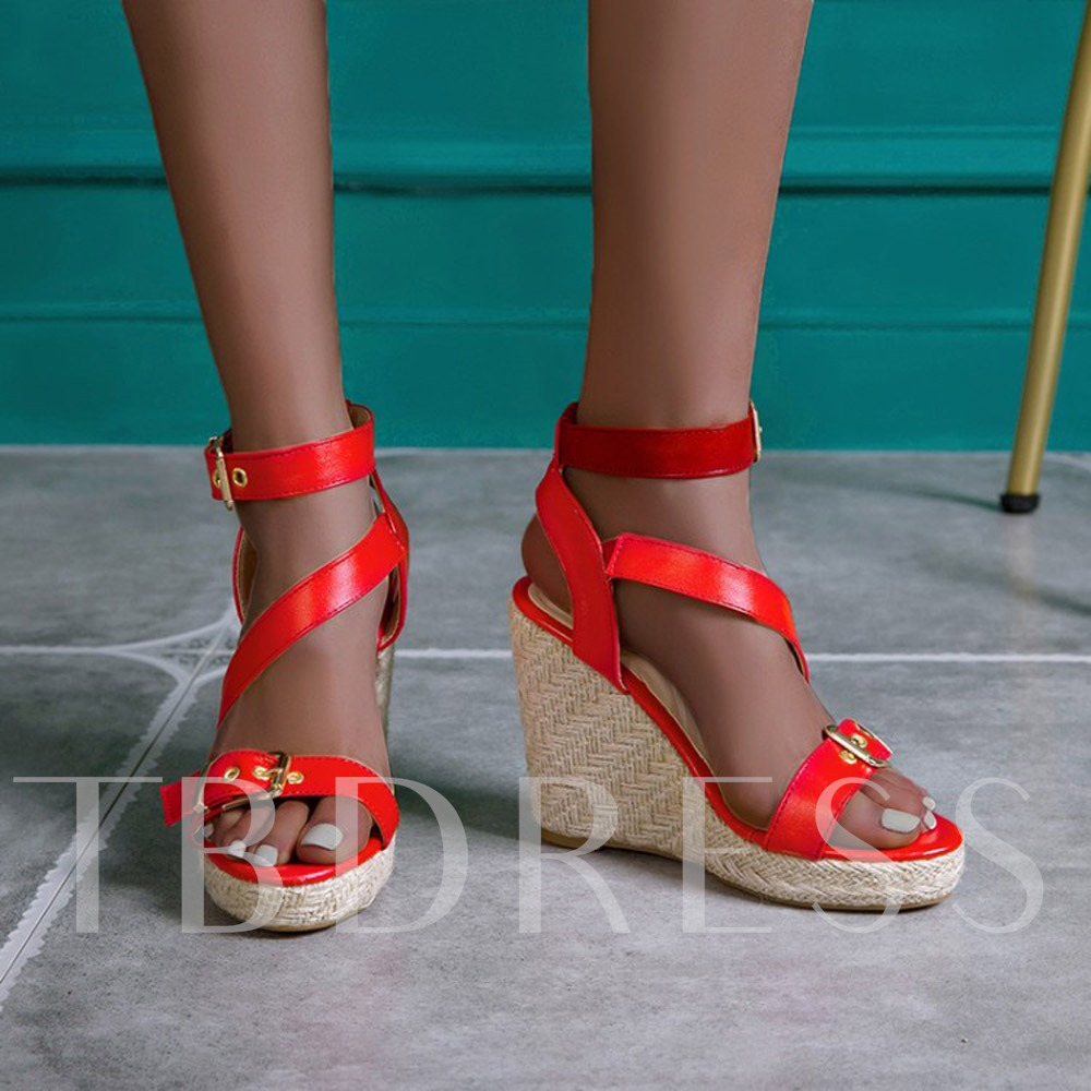 Buckle Open Toe Wedge Heel Buckle Sandals