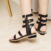 Zipper Open Toe Plain Sandals