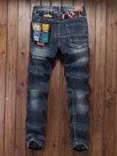 Embroidery Mid Waist Men's Jeans