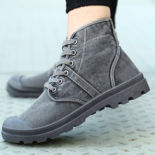 Plain Lace-Up Front Round Toe Platform Canvas Boots