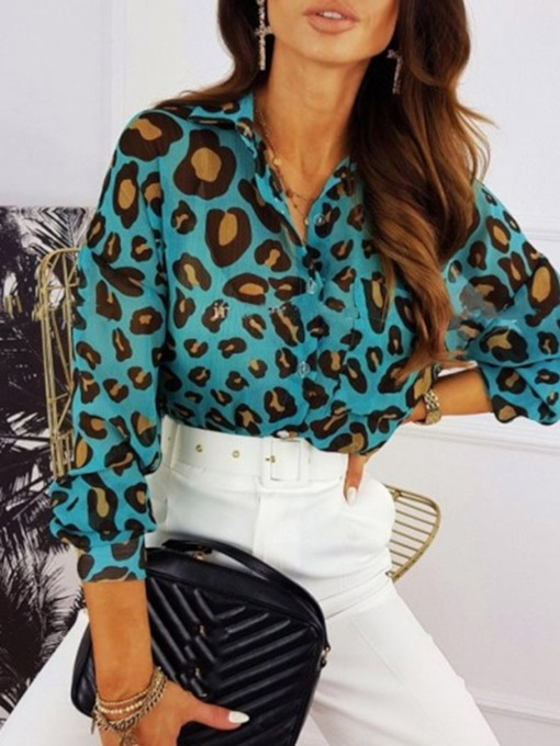 Print Leopard Lapel Regular Standard Women's Blouse