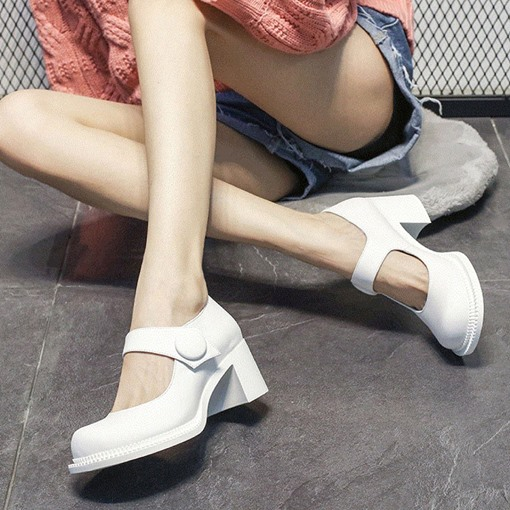 Buckle Round Toe Chunky Heel Thread Casual Thin Shoes