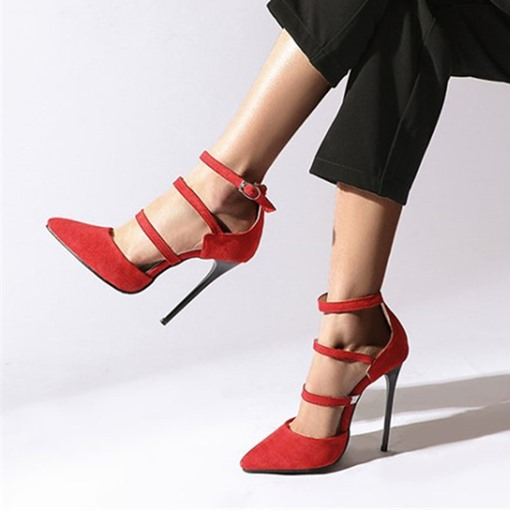 Pointed Toe Buckle Plain Thin Shoes