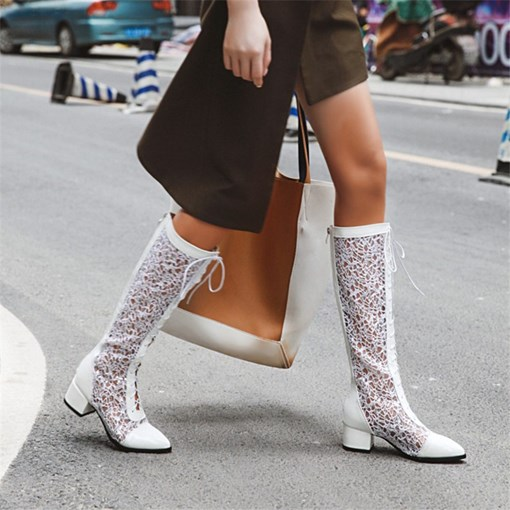 Plain Back Zip Pointed Toe Casual Boots