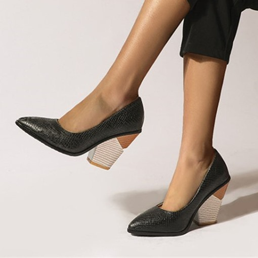 Serpentine Slip-On Pointed Toe 10cm Thin Shoes