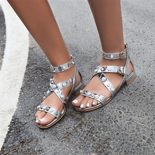 Open Toe Buckle Casual Sandals