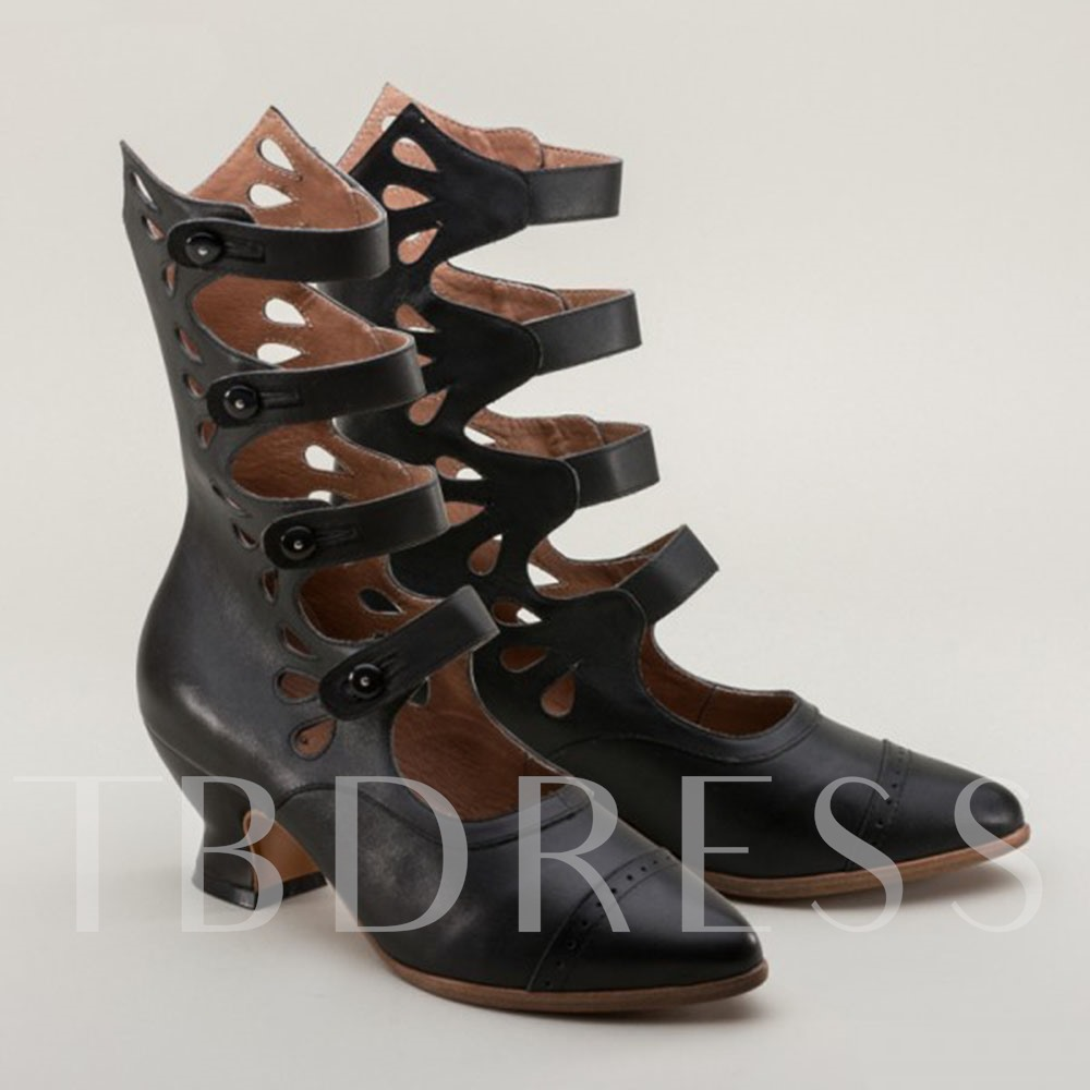 Hasp Pointed Toe Plain Hollow Boots