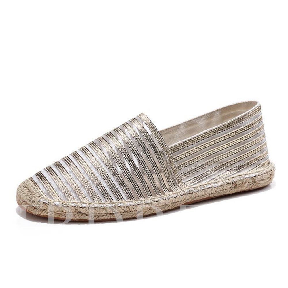 Hollow Round Toe Flat With Slip-On Stripe Thin Shoes