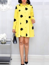 Print Long Sleeve Above Knee Lapel Regular Women's Dress