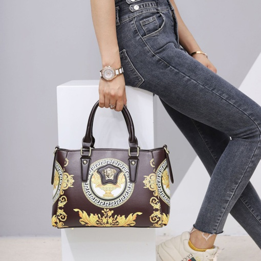 Print Floral PU Rectangle Tote Bags