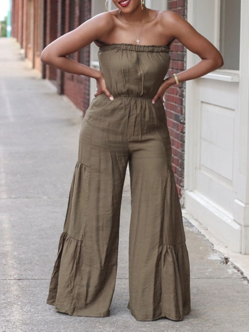 Plain Full Length Pleated Mid Waist Women's Jumpsuit