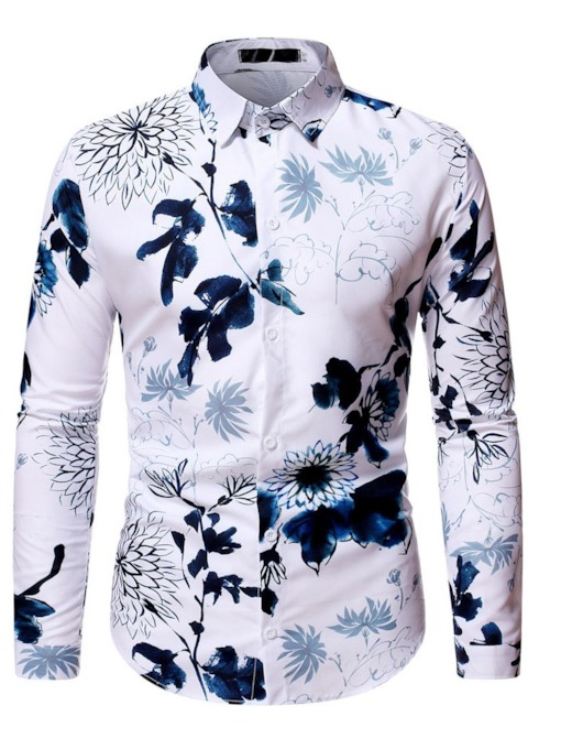 Lapel Floral Print Slim Long Sleeves Men's Shirt