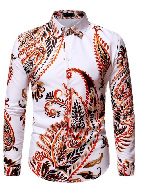 Long Sleeves Lapel Floral Print Slim Men's Shirt