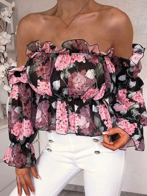 Floral Off Shoulder Falbala Standard Women's Blouse