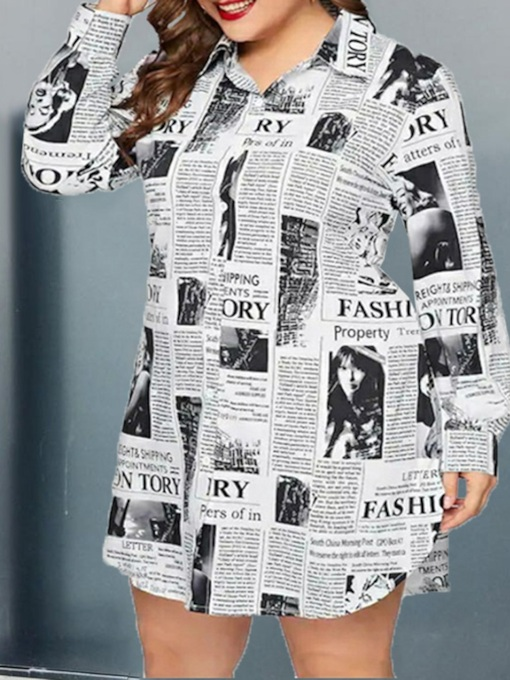 Print Letter Lapel Regular Standard Women's Blouse