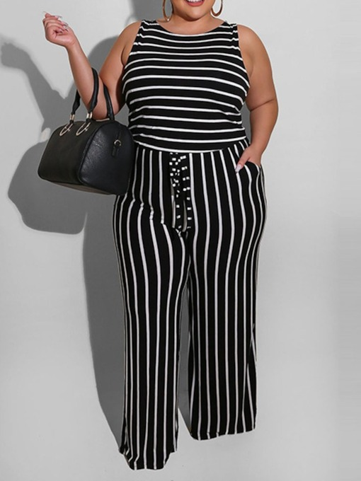 Plus Size Full Length Stripe Slim Women's Jumpsuit