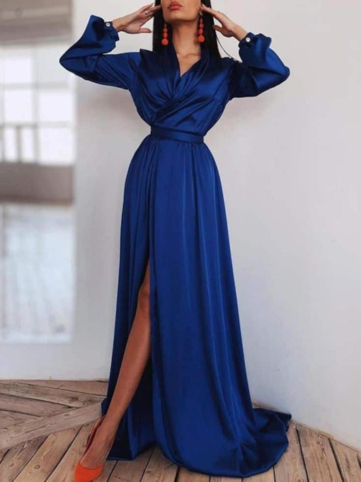 V-Neck Asymmetric Floor-Length Long Sleeve Fashion Women's Dress