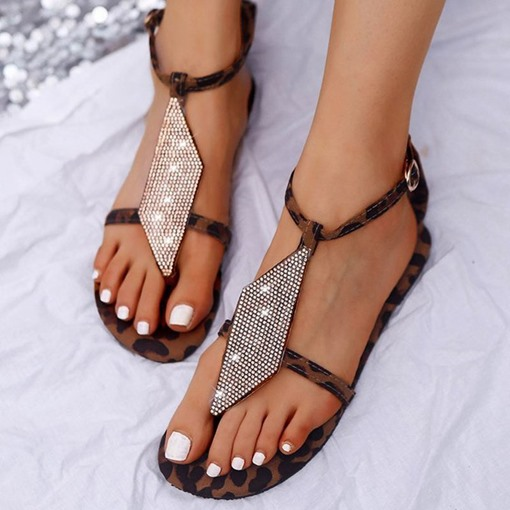 Strappy Buckle Flat With Thong Buckle Sandals
