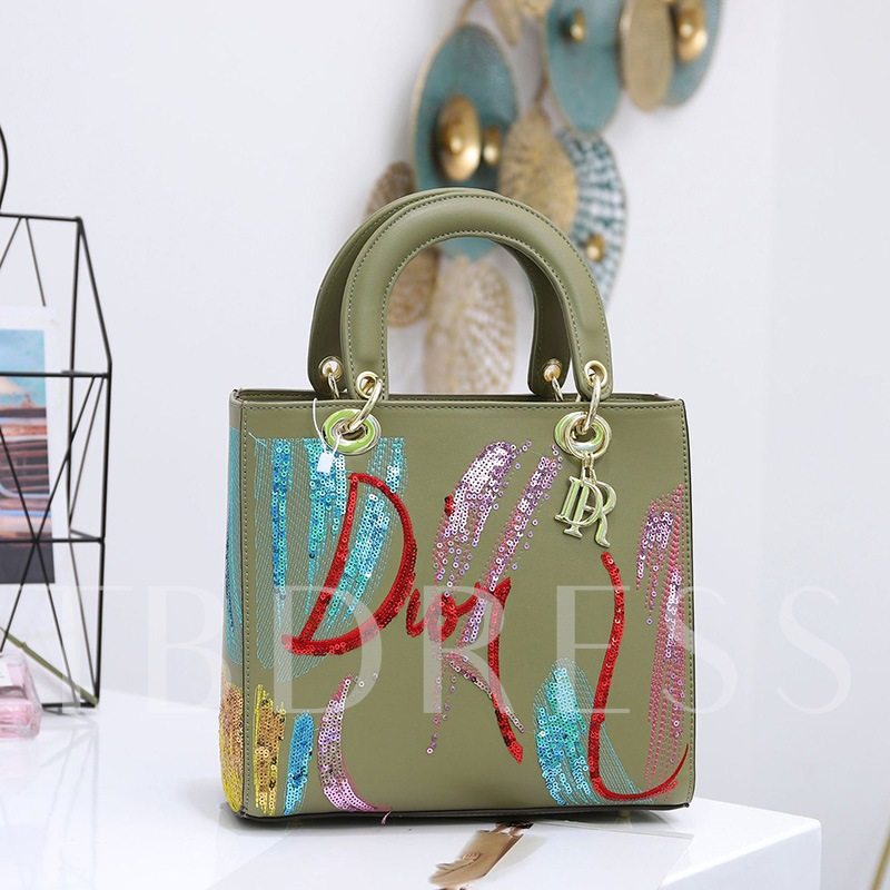 PU Thread Letter Rectangle Tote Bags