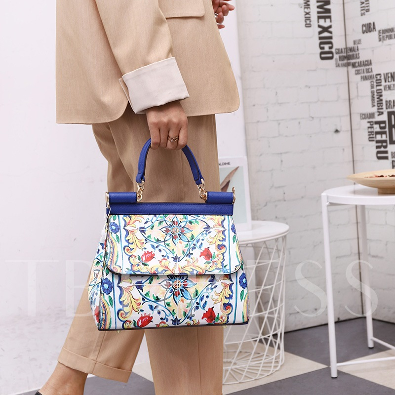 Floral Print PU Rectangle Tote Bags