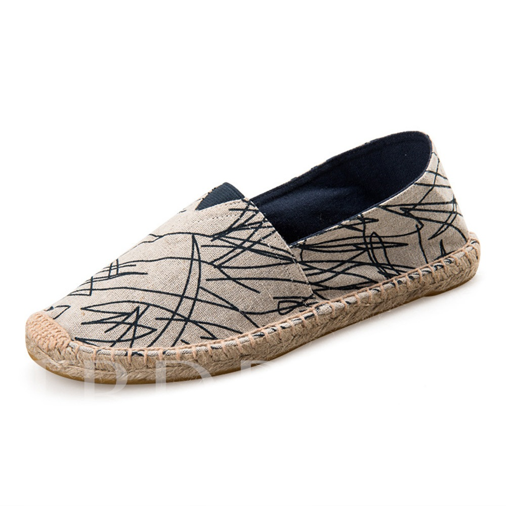 Round Toe Thread Slip-On Flat With Low-Cut Upper Thin Shoes