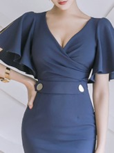 V-Neck Knee-Length Short Sleeve Button Wear to Work/Workwear Women's Dress