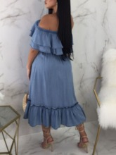 Mid-Calf Pleated Off Shoulder Short Sleeve Pullover Female's Dress
