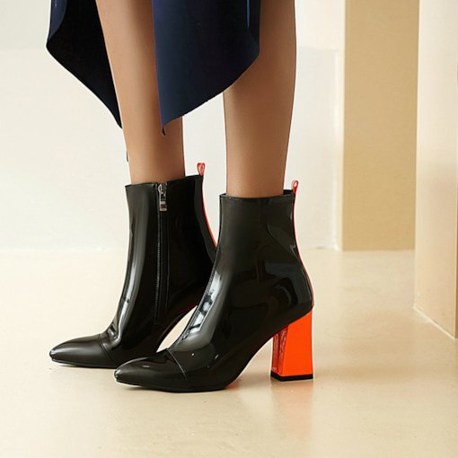 Side Zipper Patchwork Chunky Heel Pointed Toe Casual Boots