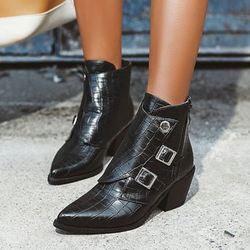 Pointed Toe Plain Back Zip Chunky Heel Casual Boots
