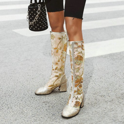 Plain Back Zip Chunky Heel Square Toe Sequin Boots