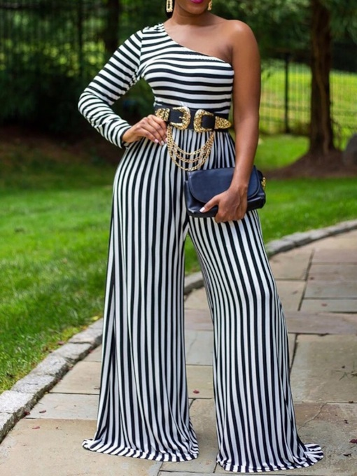 Asymmetric Fashion Full Length Stripe Slim Women's Jumpsuit