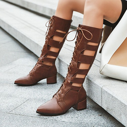 Back Zip Pointed Toe Chunky Heel Plain Hollow Boots