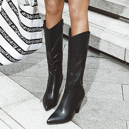 Cone Heel Plain Pointed Toe Side Zipper Korean Boots