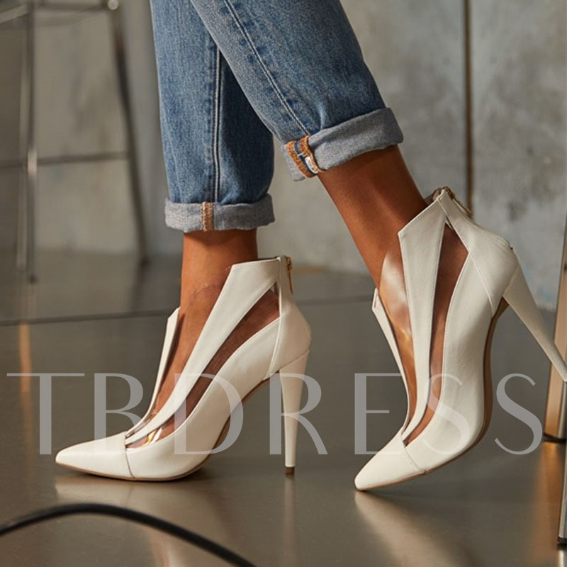 Pointed Toe Stiletto Heel Back Zip Plain Casual Boots