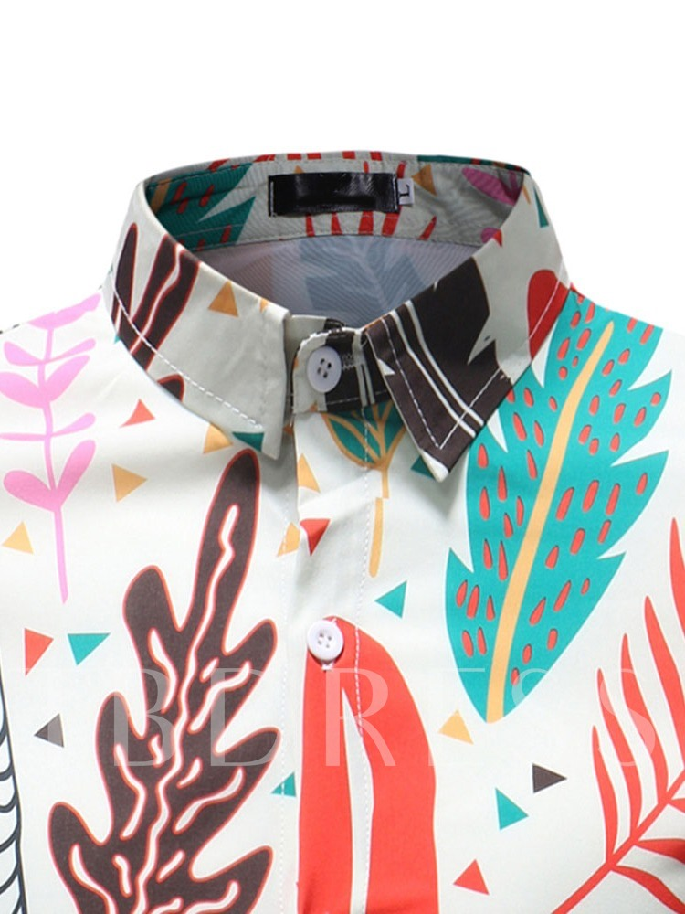 Lapel Print Floral Slim Men's Shirt