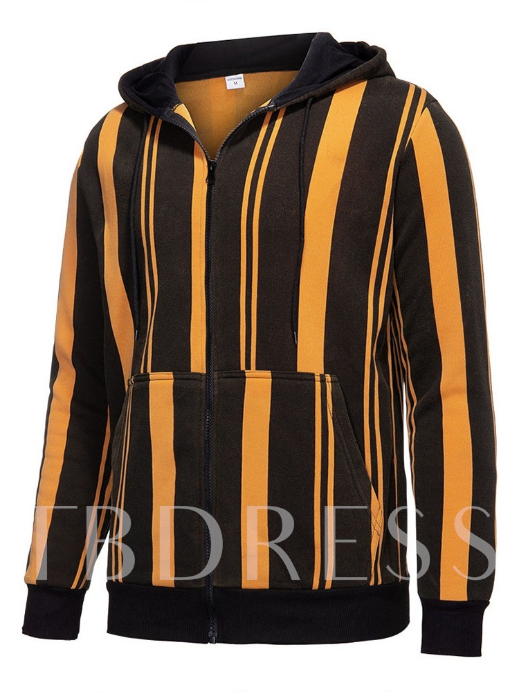 Stripe Patchwork Hooded Fall Men's Jacket